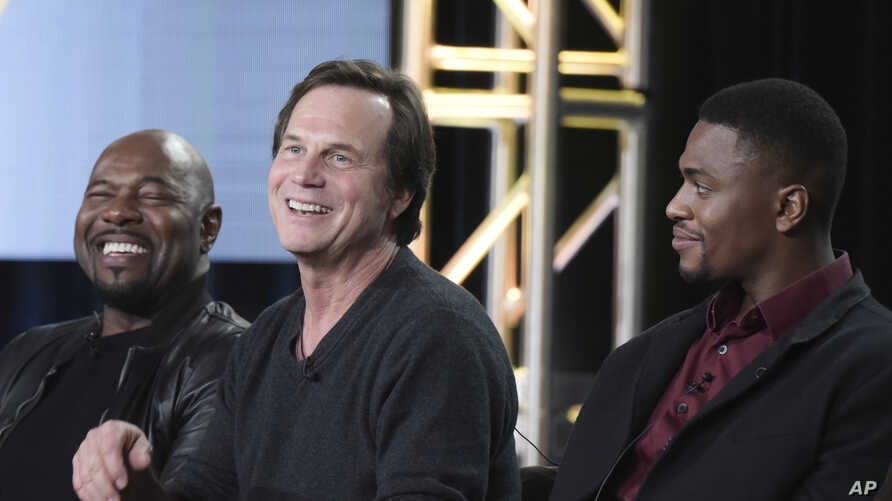 "FILE - Antoine Fuqua, from left, Bill Paxton, Justin Cornwell attend the ""Training Day"" panel at the CBS portion of the 2017 Winter Television Critics Association press tour,  Jan. 9, 2017, in Pasadena, Calif."
