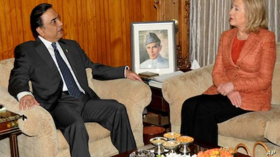 In this picture released by Pakistan's Press information agency, U.S. Secretary of State Hillary Rodham Clinton meets President of Pakistan Asif Ali Zardari in Islamabad, Pakistan, May 27, 2011.