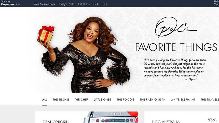 """A screenshot of Amazon's website, which is showcasing media mogul Oprah Winfrey's """"Favorite Things"""" for the holidays."""