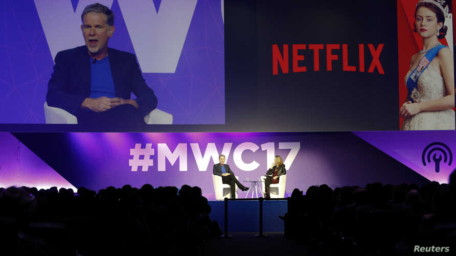 Netflix's Chief Executive Officer Reed Hastings delivers his keynote speech during Mobile World Congress in Barcelona, Spain, Feb. 27, 2017.