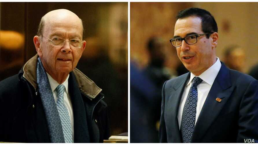 FILE - Commerce secretary nominee Wilbur Ross, left, and Treasury secretary nominee Steven Mnuchin are shown in this composite image from AP and Reuters photos.