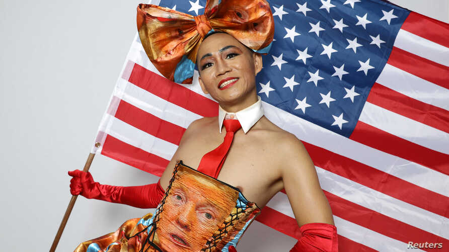 Khuong Lam, 35, poses for a portrait during the Resist March against President Donald Trump in West Hollywood, California, U.S., June 11, 2017.