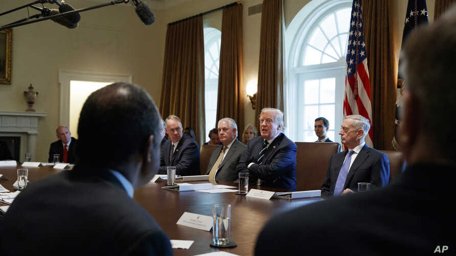 FILE - President Donald Trump speaks during a Cabinet meeting at the White House in Washington, Oct. 16, 2017. The White House has begun work on one of Trump's next priorities: welfare reform. Trump said at the Cabinet meeting that welfare reform was