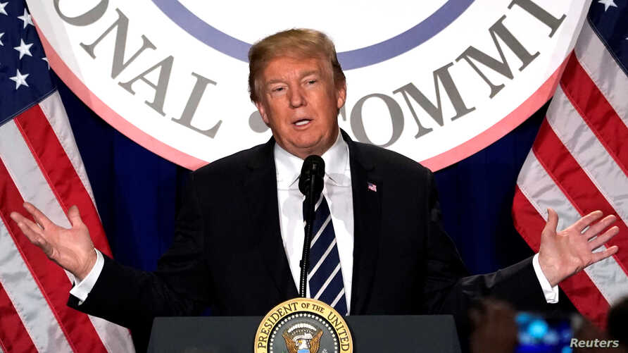 President Donald Trump addresses the Republican National Committee's winter meeting at the Washington Hilton, Feb. 1, 2018.