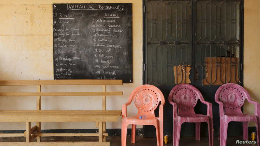 A blackboard with translations of French phrases into the Kanuri language is seen at a Cameroonian military base in Kolofata, Cameroon, March 16, 2016.