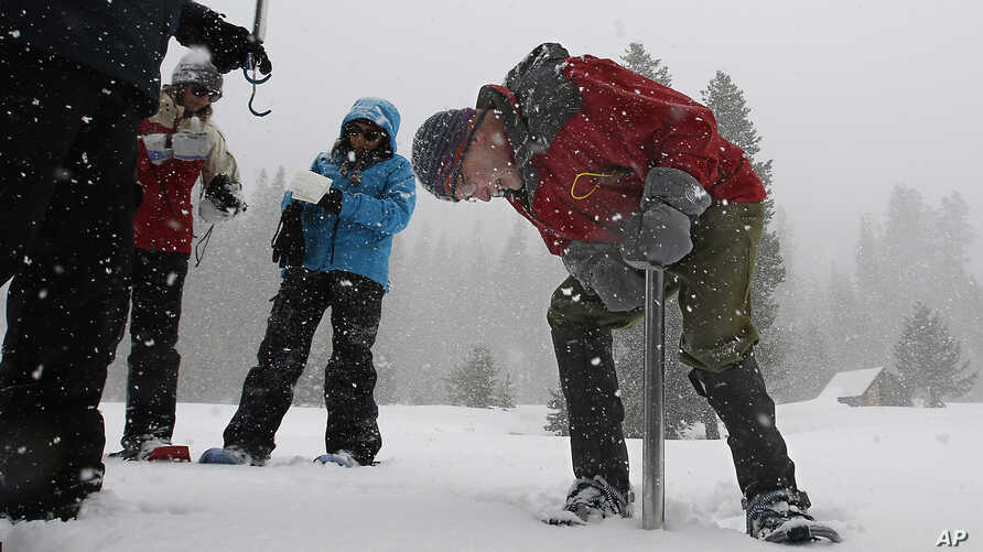 Frank Gehrke, chief of the California Cooperative Snow Surveys Program for the Department of Water Resources, checks the snowpack depth during the manual snow survey at Phillips Station, March 30, 2017, near Echo Summit, Calif.