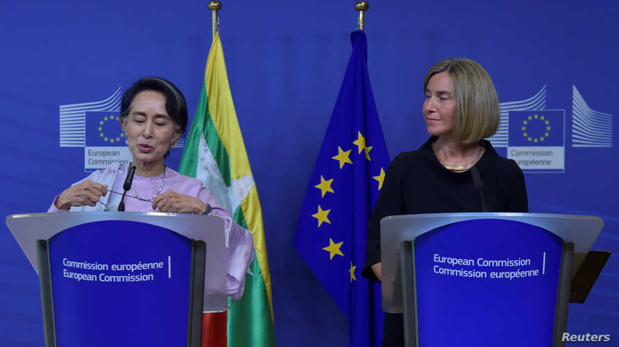 European Union foreign policy chief Federica Mogherini gives a news conference with Myanmar State Counsellor Aung San Suu Kyi in Brussels, Belgium May 2, 2017.