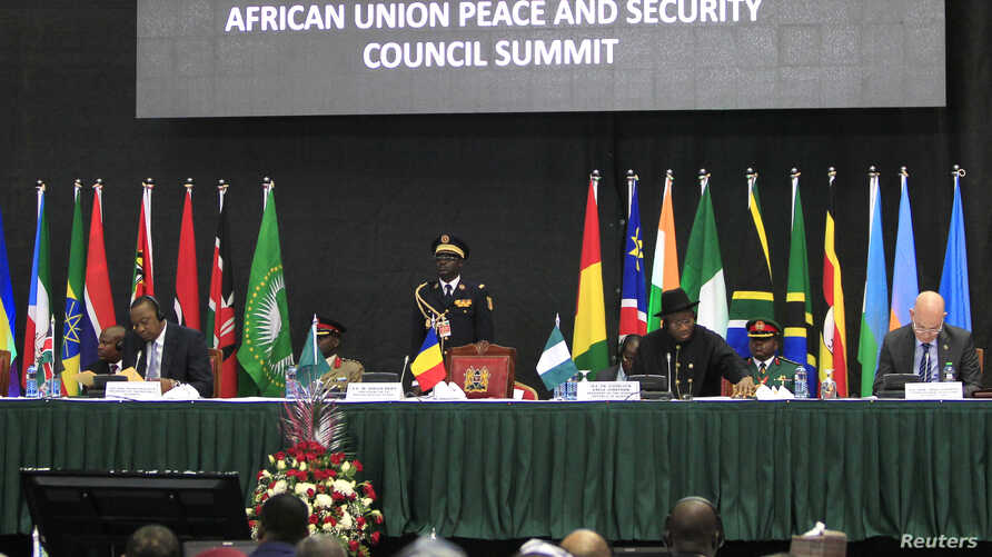 African leaders and delegates attend the Africa Union Peace and Security Council Summit on Terrorism at the Kenyatta International Convention Centre, in Nairobi, Kenya, Sept. 2, 2014.