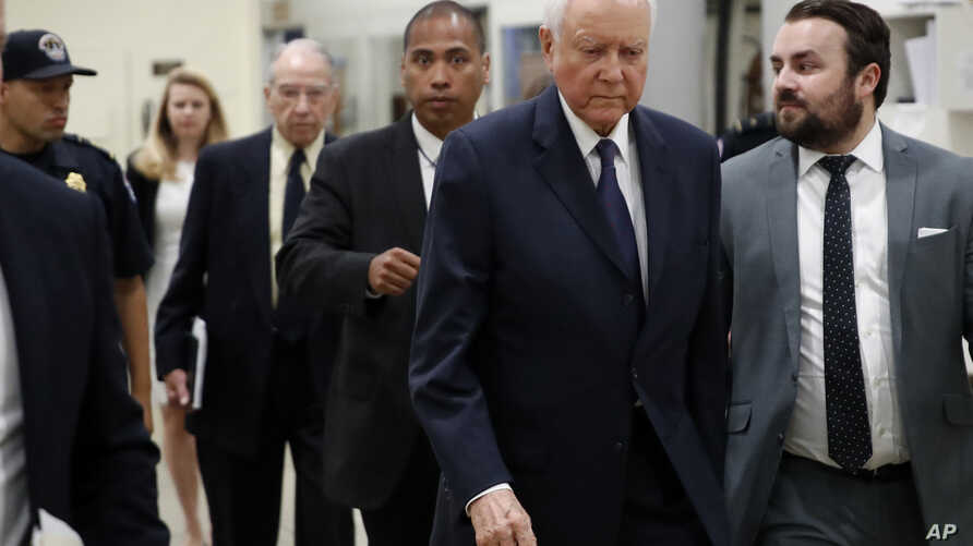 Sen. Orrin Hatch, R-Utah (2nd-R), and Senate Judiciary Committee Chuck Grassley, R-Iowa (C-Rear) arrive to view the FBI report on sexual misconduct allegations against Supreme Court nominee Brett Kavanaugh, on Capitol Hill, Oct. 4, 2018 in Washington