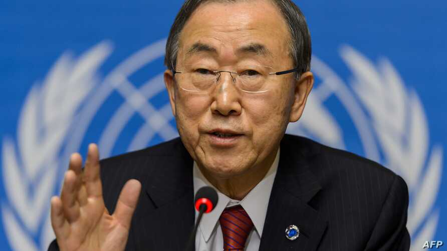 UN Secretary General Ban Ki-moon gives a press conference at the UN Human rights Council session on March 3, 2014 in Geneva.