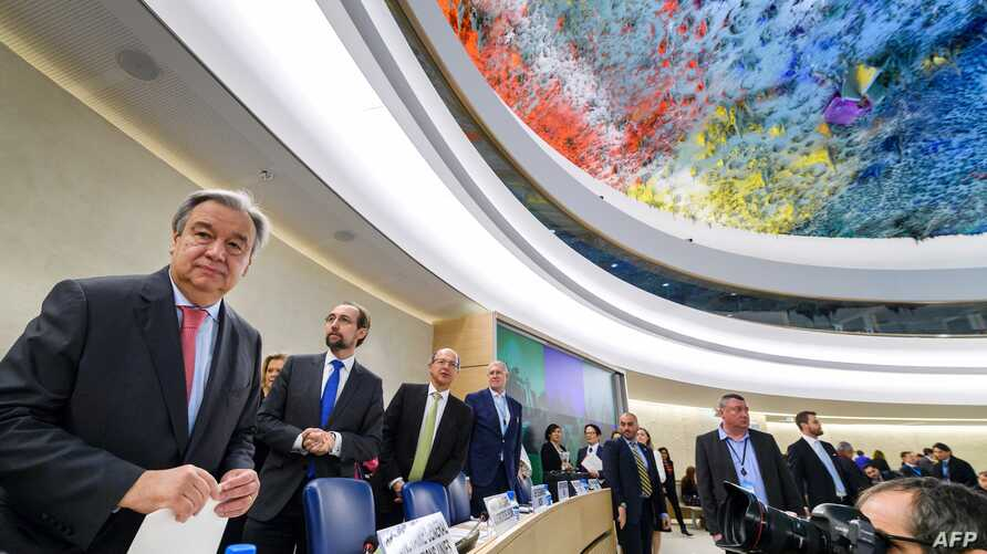 UN Secretary-General Antonio Guterres (L) looks on at the opening of the United Nations Human Rights Council, Feb.  27, 2017 in Geneva.