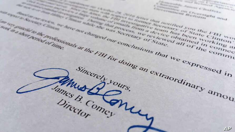 Part of the Nov. 6, 2016, letter from FBI director James Comey to Congress.