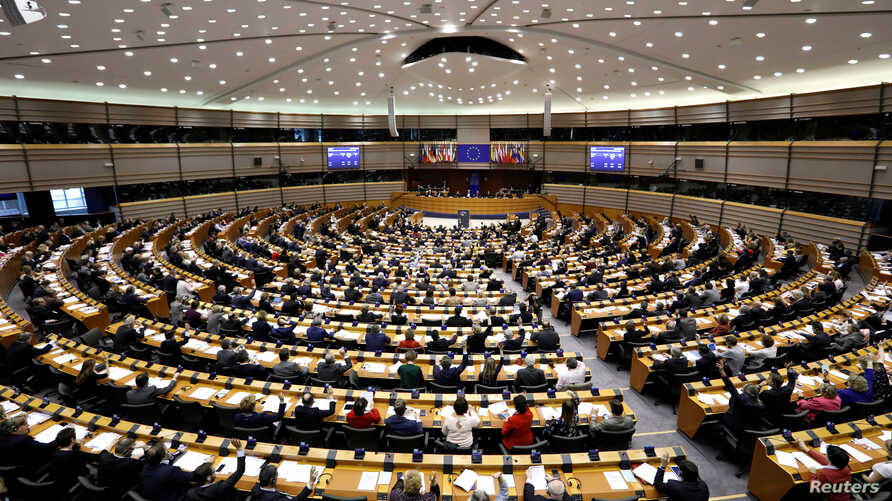 View of the European Parliament during a plenary session after the vote to decide whether to lift the EU parliamentary immunity of French far-right presidential candidate Marine Le Pen after she came under investigation for tweeting pictures of Islam...