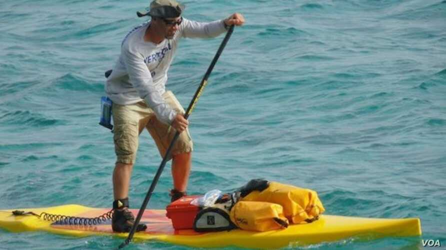 Shane Perrin will be competing on his custom stand up paddle board and he is the world record holder for most miles traveled by SUP in 24 hours (more than 160 km). (Image Credit: VerticalOar.com)