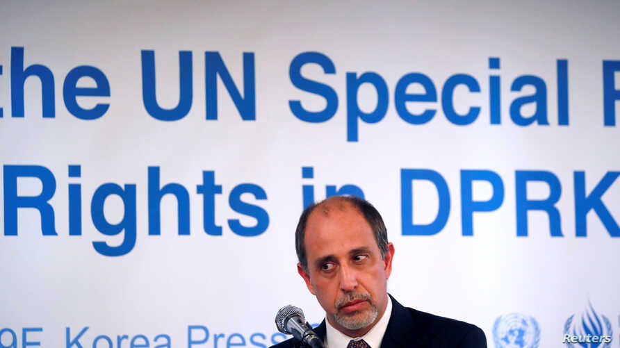 Special Rapporteur on the situation of human rights in North Korea Tomas Ojea Quintana listens to a reporter's question during a news conference in Seoul, South Korea, Dec. 14, 2017.