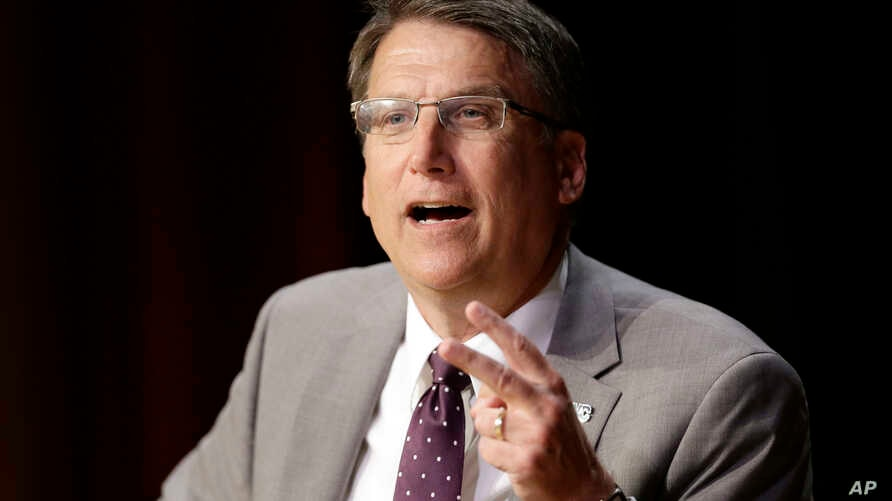 North Carolina Gov. Pat McCrory make remarks concerning House Bill 2 while speaking during a government affairs conference in Raleigh, N.C., May 4, 2016.