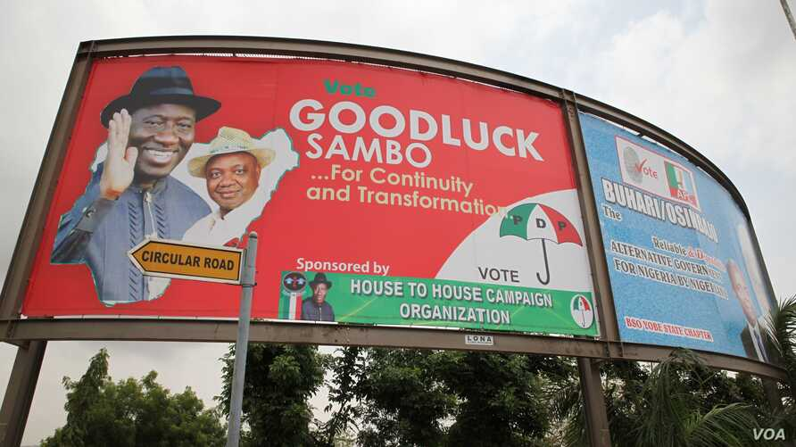 A billboard in support of incumbent Nigerian president Goodluck Jonathan is pictured on March 25 in Abuja, Nigeria. (Chris Stein for VOA News)