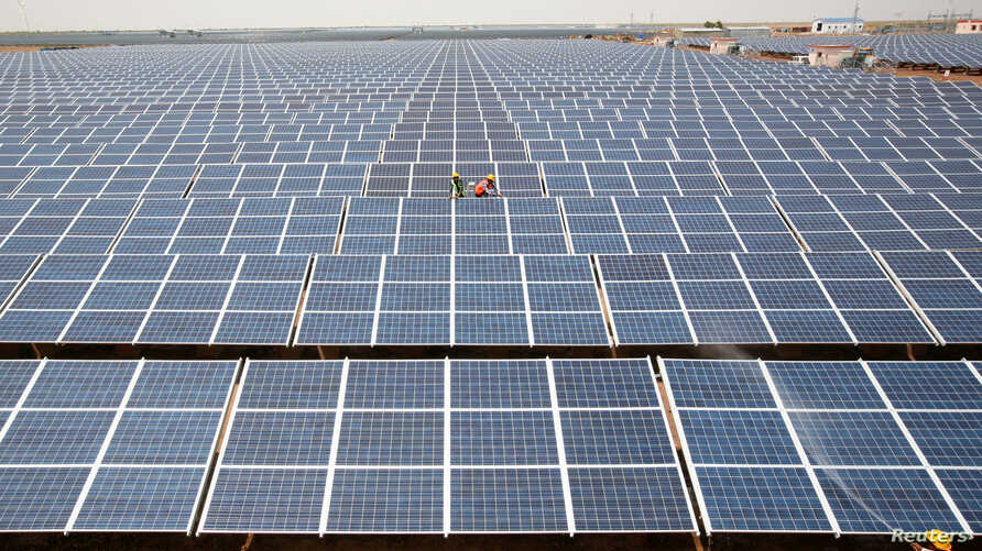 FILE -  Workers install photovoltaic solar panels at the Gujarat solar park under construction in Charanka village in Patan district of the western Indian state of Gujarat, India.