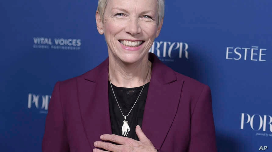 FILE - Annie Lennox attends Porter's 3rd Annual Incredible Women Gala at the Wilshire Ebell Theatre in Los Angeles, Oct. 9, 2018.