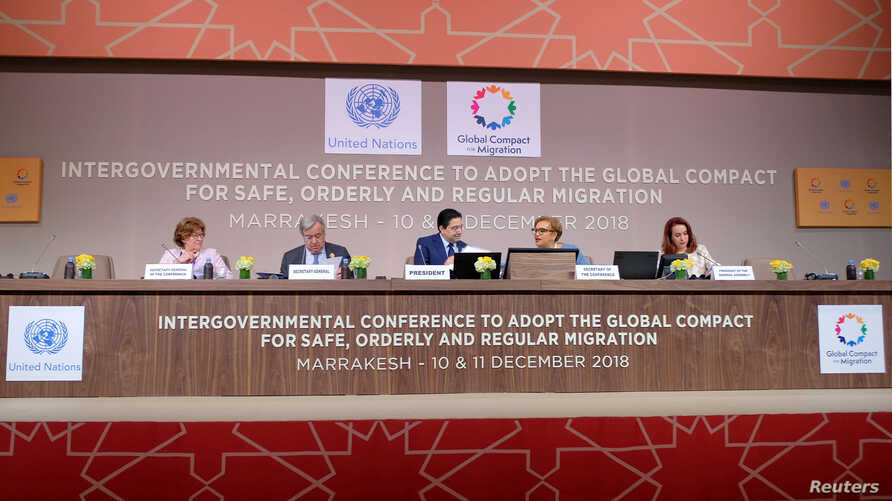 U.N. Secretary General Antonio Guterres attends the Intergovernmental Conference to Adopt the Global Compact for Safe, Orderly and Regular Migration in Marrakesh, Morocco, Dec. 10, 2018.