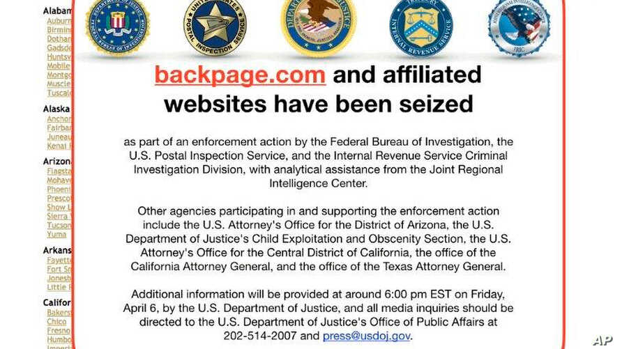 This FBI notice appeared April 6, 2018, on the Backpage.com website. Federal law enforcement authorities are in the process of seizing Backpage.com and its affiliated websites as part of an enforcement action by the FBI and other agencies.