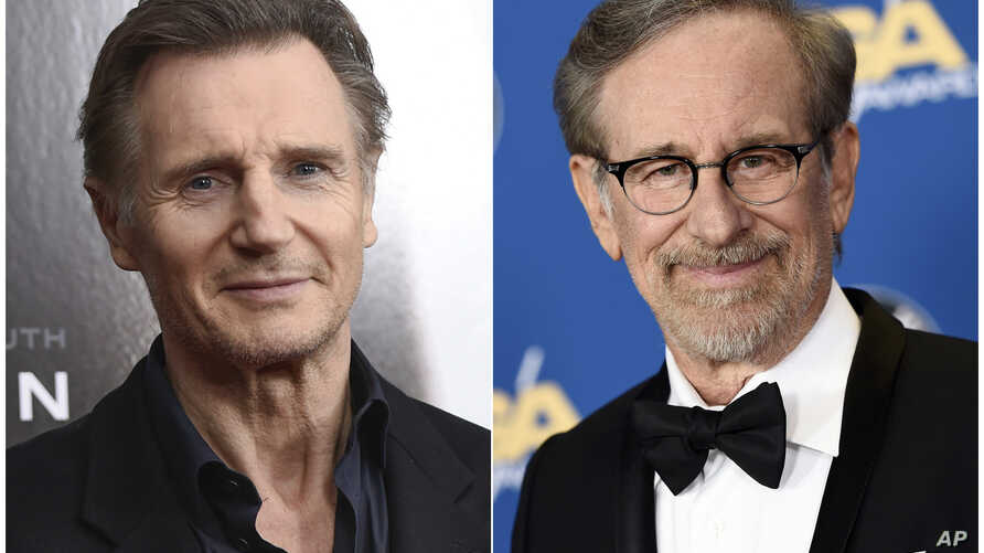 "This combination photo shows Liam Neeson at a screening of ""Concussion"" in New York on Dec. 16, 2015, left, and director Steven Spielberg at the 68th Directors Guild of America Awards in Los Angeles on Feb. 6, 2016."