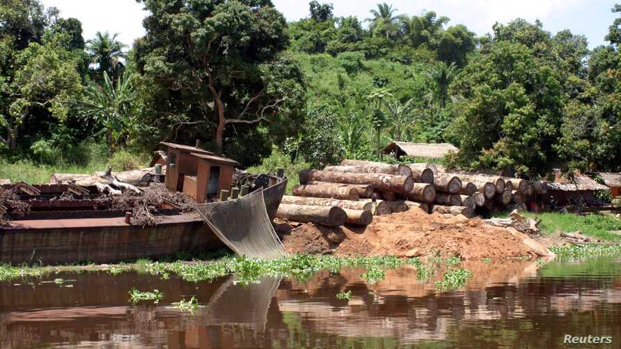 Logs lie next to a rusting barge on the banks of the Congo River, Oct. 7, 2004. Greenpeace reported at the time that the president of the Democratic Republic of the Congo was finally backing a largely ignored ban on new logging that had been approved