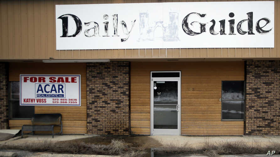 The old Daily Guide office stands for sale in St. Robert, Missouri, Feb. 19, 2019.