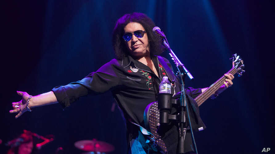 Gene Simmons of the band Kiss performs solo in concert with The Gene Simmons Band at The American Music Theatre on Friday, Sept. 8, 2017, in Lancaster, Pa.