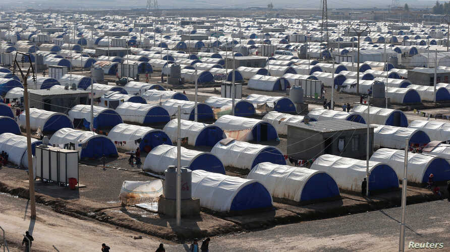 A view shows Khazer camp for displaced Iraqi people who fled the Islamic State stronghold of Mosul, Iraq, Feb. 6, 2017.