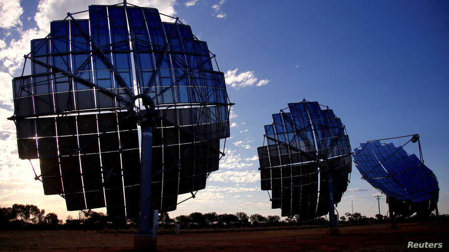 A solar panel array can be seen at the Windorah Solar Farm, which was installed by Ergon Energy, near the town of Windorah in outback Queensland, Australia, August 11, 2017.