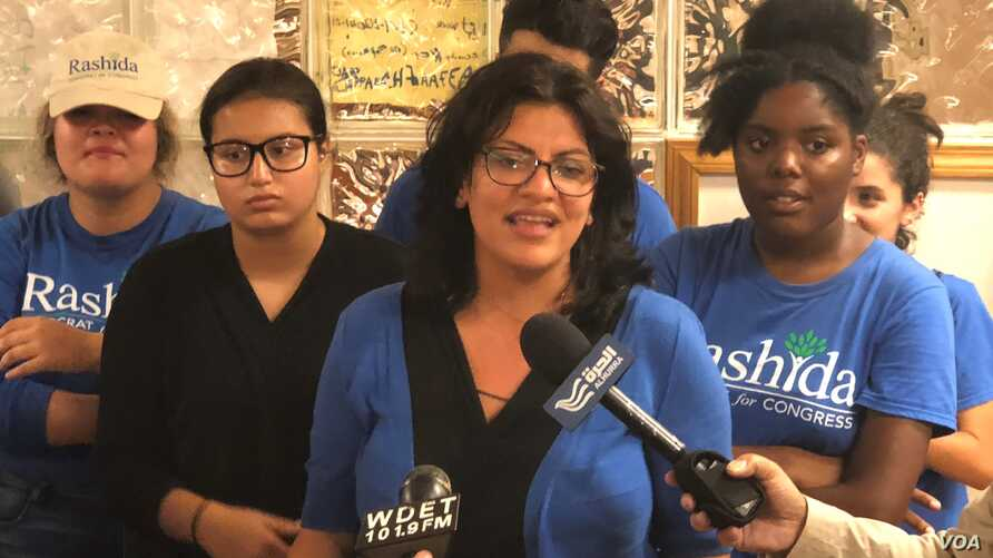 Rashida Tlaib at her campaign headquarters in Detroit, Aug.7, 2018,.