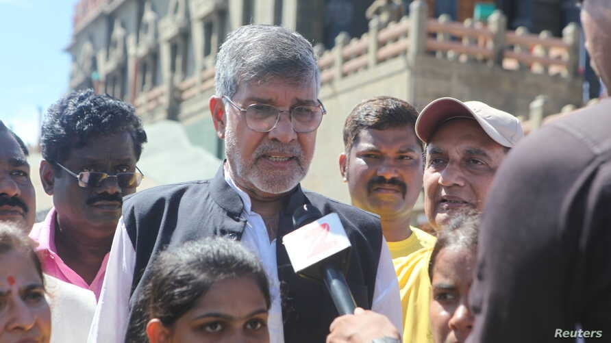 Nobel Laureate and child rights activist Kailash Satyarthi talks to the media at an event to kick off what is expected to be the world's largest march against child trafficking and sex abuse in Kanyakumari in India's Tamil Nadu state, Sept 11, 2017.