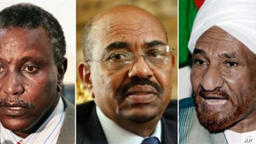Leading candidates in Sudan's presidential election, from left, Yasir Arman, Omar al-Beshir and Sadiq al-Mahdi (file photos)