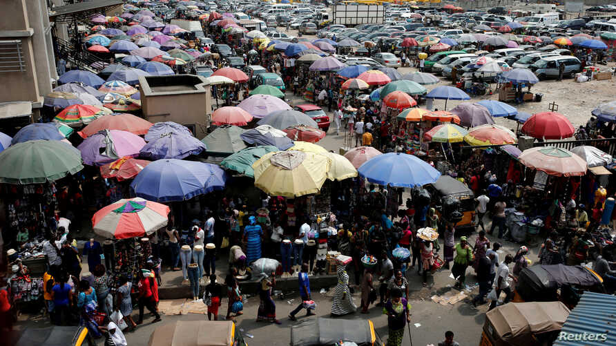 A view of the Oluwole Urban Market in the central business district, near Marina in Lagos, Nigeria, Dec. 13, 2016