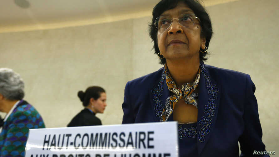 U.N. High Commissioner for Human Rights Navi Pillay arrives for the 21st Special Session of the Human Rights Council on the human rights situation in the Palestinian Territories at the United Nations Office in Geneva, July 23, 2014.