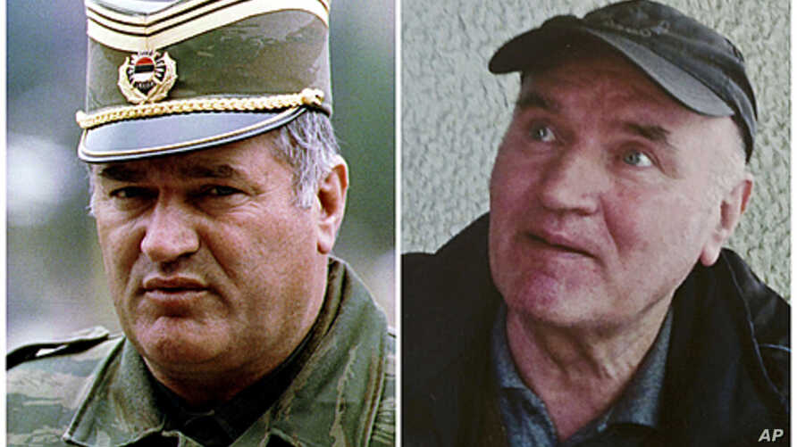 Combination photo shows Bosnian Serb army commander General Radko Mladic in Pale dated May 7, 1993 and in Belgrade after he was arrested on May 26, 2011.