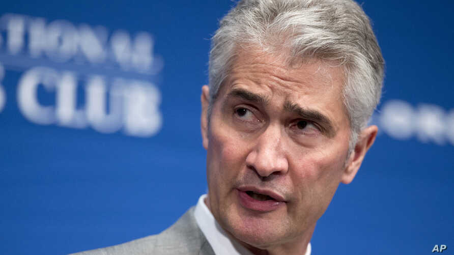 FILE - United Airlines Chairman, President and Chief Executive Officer Jeff Smisek, speaks during a panel discussion on unfair international competition, May 15, 2015, at the National Press Club in Washington.