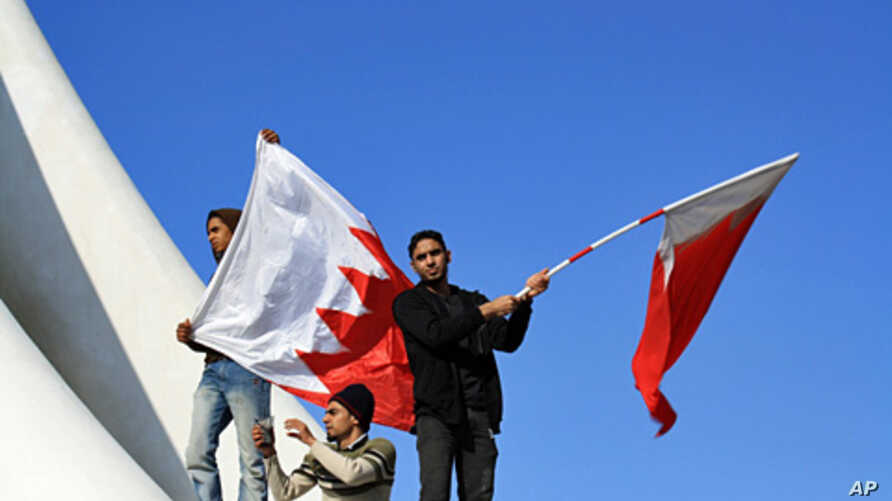 Protesters at the Pearl Roundabout in Bahrain, February 15, 2011