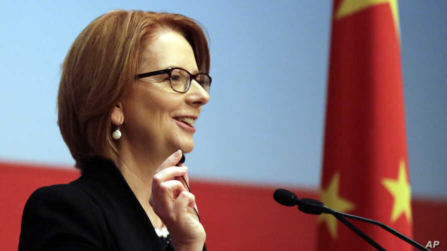 Australian Prime Minister Julia Gillard answers question from guests at China Executive Leadership Academy Pudong (CELAP) in Shanghai, China, Apr. 8, 2013.