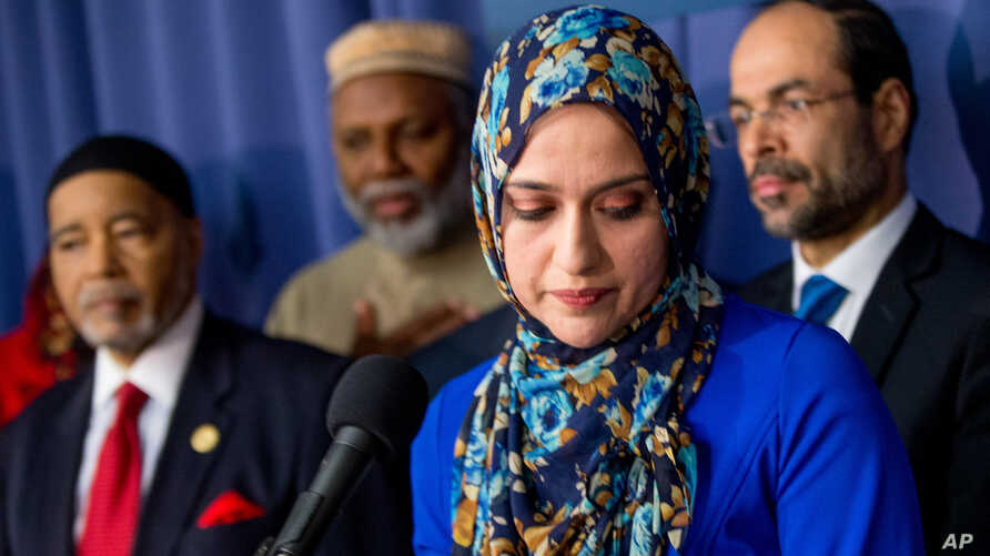 From left, American Muslim Alliance Washington, D.C. National Director Mahdi Bray, Muslim Alliance of North America Imam Johari Abdul-Malik, Muslim Public Affairs Council Media and Communications Director Rabiah Ahmed, and Executive Director and Foun