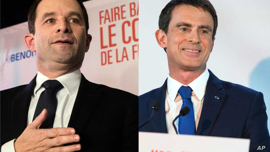 French Socialist candidates Benoit Hamon, left, will face Manuel Valls, right in a runoff election Jan. 29, with the winner facing conservative and nationalist rivals in the April-May presidential election.