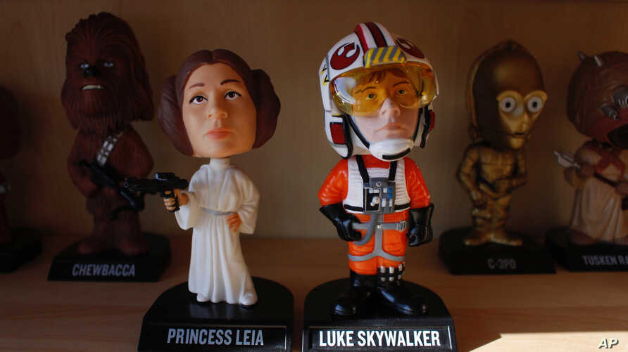 "Bobbleheads from the ""Star Wars"" movies are displayed at National Bobblehead Hall of Fame and Museum in Milwaukee, Jan. 8, 2019."