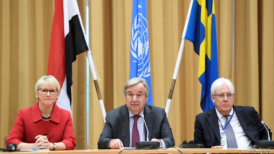 Swedish Foreign Minister Margot Wallstrom (L), United Nations Secretary General Antonio Guterres (C) and UN Special Envoy Martin Griffiths attend the Yemen peace talks closing press conference at the Johannesberg castle in Rimbo, near Stockholm, Dec.