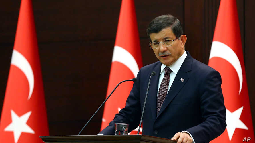 Turkish Prime Minister Ahmet Davutoglu speaks in Ankara, Turkey, Sept. 7, 2015.