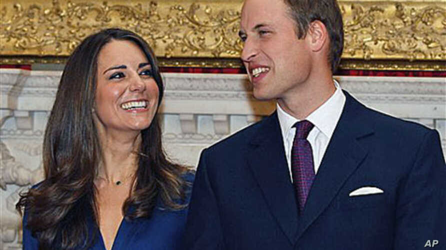 In this Nov. 16, 2010 file photo, Britain's Prince William and his fiancee Kate Middleton are seen at St. James's Palace in London, after they announced their engagement
