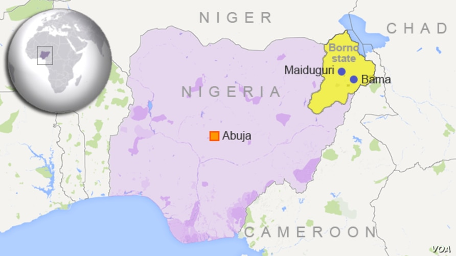 Map of Nigeria showing the location of Bama and Maidiguri, in Borno State