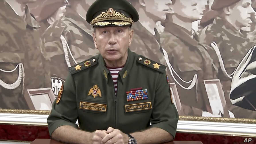 In this video grab taken from Rosguardia official website, National Guard chief Viktor Zolotov speaks as he records an emotional speech, posted on the National Guard's YouTube channel in Moscow, Russia, Tuesday, Sept. 11, 2018. President Vladimir Put