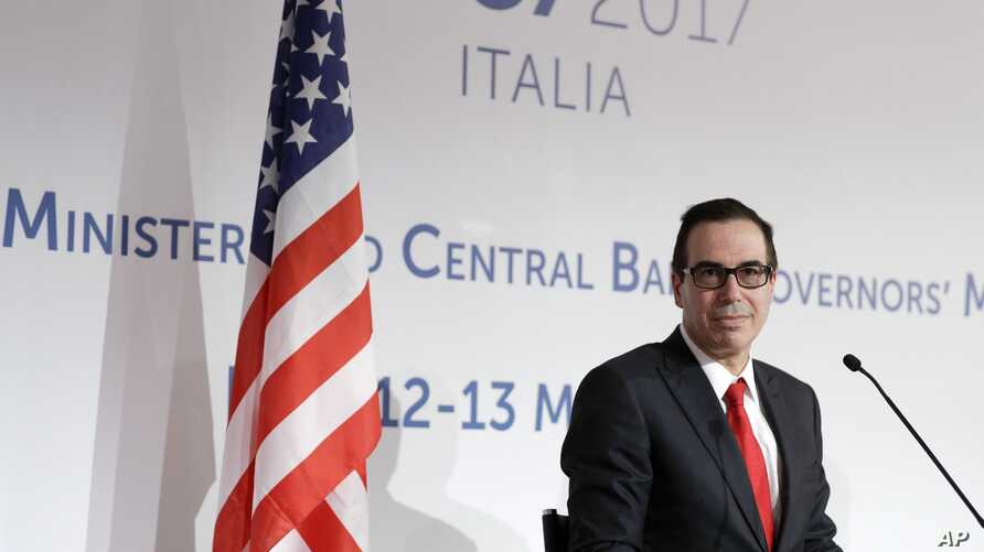 U.S. Treasury Secretary Steven Mnuchin gives a news conference on the last day of a summit of G-7 of finance ministers, in Bari, Italy, May 13, 2017.