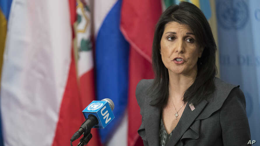 "U.S. Ambassador to the United Nations Nikki Haley speaks to reporters, Jan. 2, 2018, at U.N. headquarters. She said the ""civilized world"" must remain vigilant against North Korean weapons development. ""We will never accept a nuclear North Korea."""